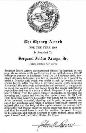 p_isidro_arroyo_cheney_award_letter_year_1969